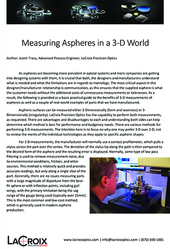 aspheres, measuring aspheres, optical metrology, measuring aspheres in 3d, aspheric lenses